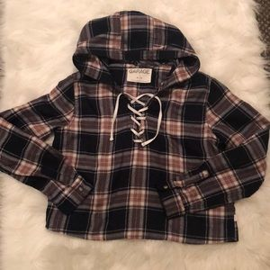 Cropped flannel hoodie